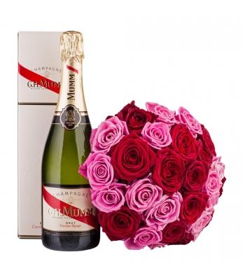 Kirju roosikimp šampanjaga