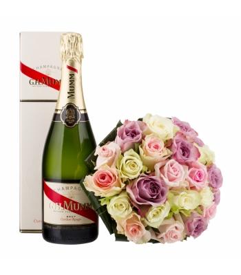 Pastelne roosikimp šampanjaga