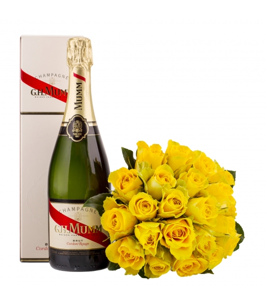 Kollane roosikimp šampanjaga