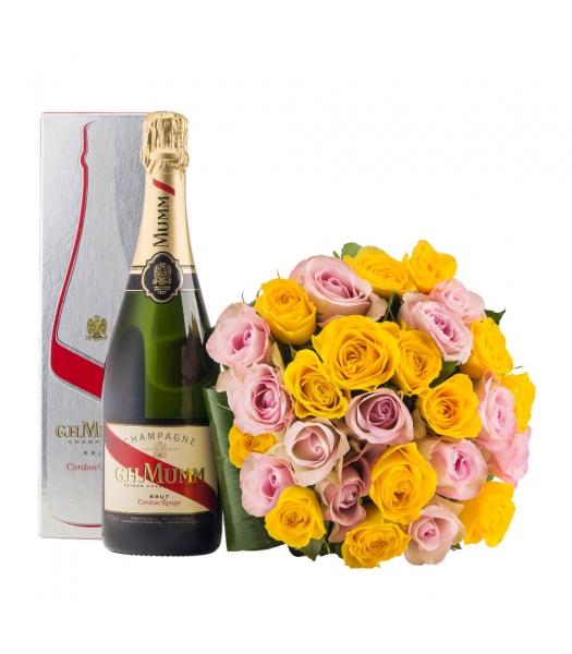 Kollasekirju roosikimp šampanjaga