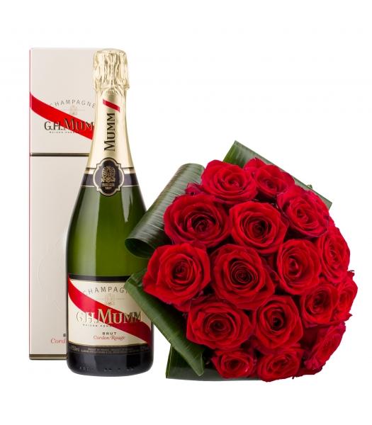 Punane roosikimp šampanjaga