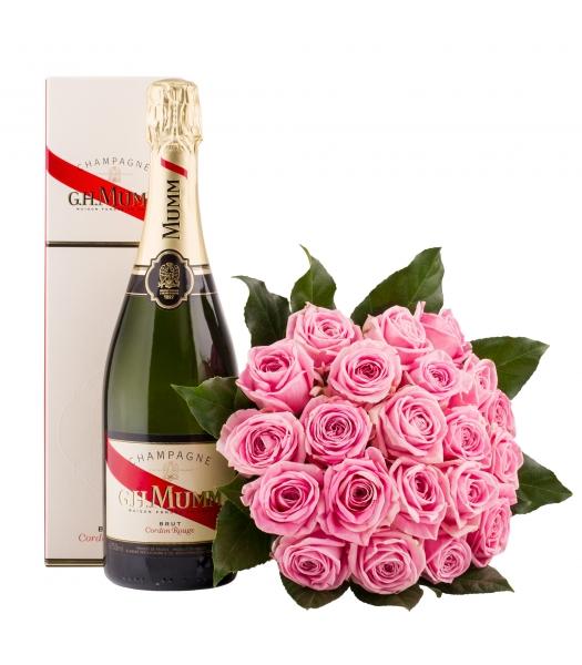 Roosa roosikimp šampanjaga