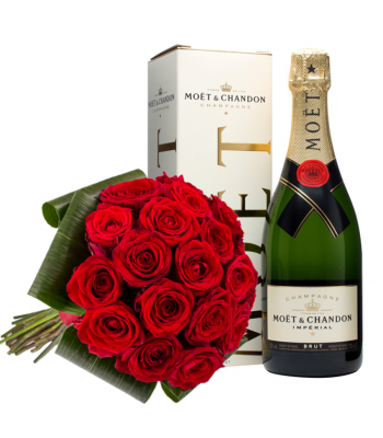 Punane roosikimp Moët šampanjaga