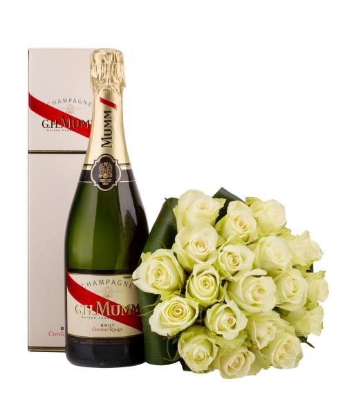 Valge roosikimp šampanjaga
