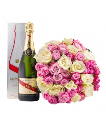 Roosakirju roosikimp šampanjaga